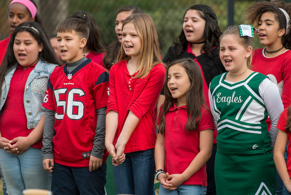 The Leadership Choir performs during a groundbreaking ceremony at Garden Oaks Montessori, February 17, 2017.