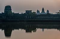 Angkor Wat panorama viewed across the moat at Cambodia