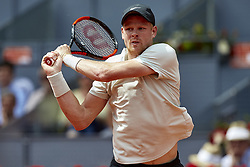 May 9, 2018 - Madrid, Madrid, Spain - Kyle Edmund of Great Britain in action in his match against Novak Djokovic of Serbia during day five of the Mutua Madrid Open tennis tournament at the Caja Magica on May 9, 2018 in Madrid, Spain  (Credit Image: © David Aliaga/NurPhoto via ZUMA Press)