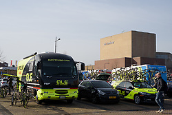 Teams prepare outside the Tamboer in Hoogeveen at Ronde van Drenthe 2017. A 152 km road race on March 11th 2017, starting and finishing in Hoogeveen, Netherlands. (Photo by Sean Robinson/Velofocus)