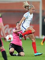 Football - 2017 UEFA Women's European [Euro] Championship - Group D: England vs. Scotland<br /> <br /> Toni Duggan of England and Jane Ross of Scotland at Stadion Gagenwaard, Utrecht.<br /> <br /> COLORSPORT/LYNNE CAMERON