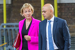 London, July 18th 2017. Leader of the House of Commons Andrea Leadsom and Communities and Local Government Secretary Sajid Javid attends the last cabinet meeting before the Parliamentary summer recess at Downing Street in London.