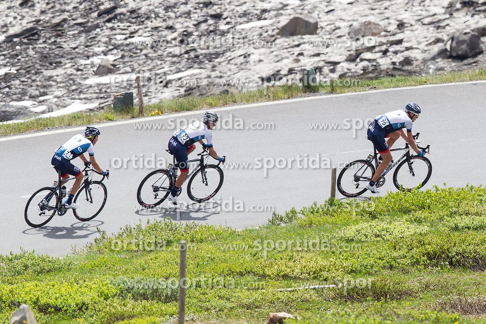 03.07.2013, Fuscher Lacke, Grossglockner Hochalpenstrasse,  AUT, 65. Oesterreich Rundfahrt, 4. Etappe, Matrei in Osttirol - St. Johann Alpendorf, im Bild vorne Gustav Larsson (SWE, IAM Cycling), mitte Stefan Denifl (AUT, IAM Cycling), hintenJonathan Fumeaux (SUI, IAM Cycling) // during the 65 th Tour of Austria, Stage 4, from Matrei in Osttirol to St. Johann Alpendorf, Grossglockner Hochalpenstrasse, Austria on 2013/07/03. EXPA Pictures © 2013, PhotoCredit: EXPA/ Johann Groder