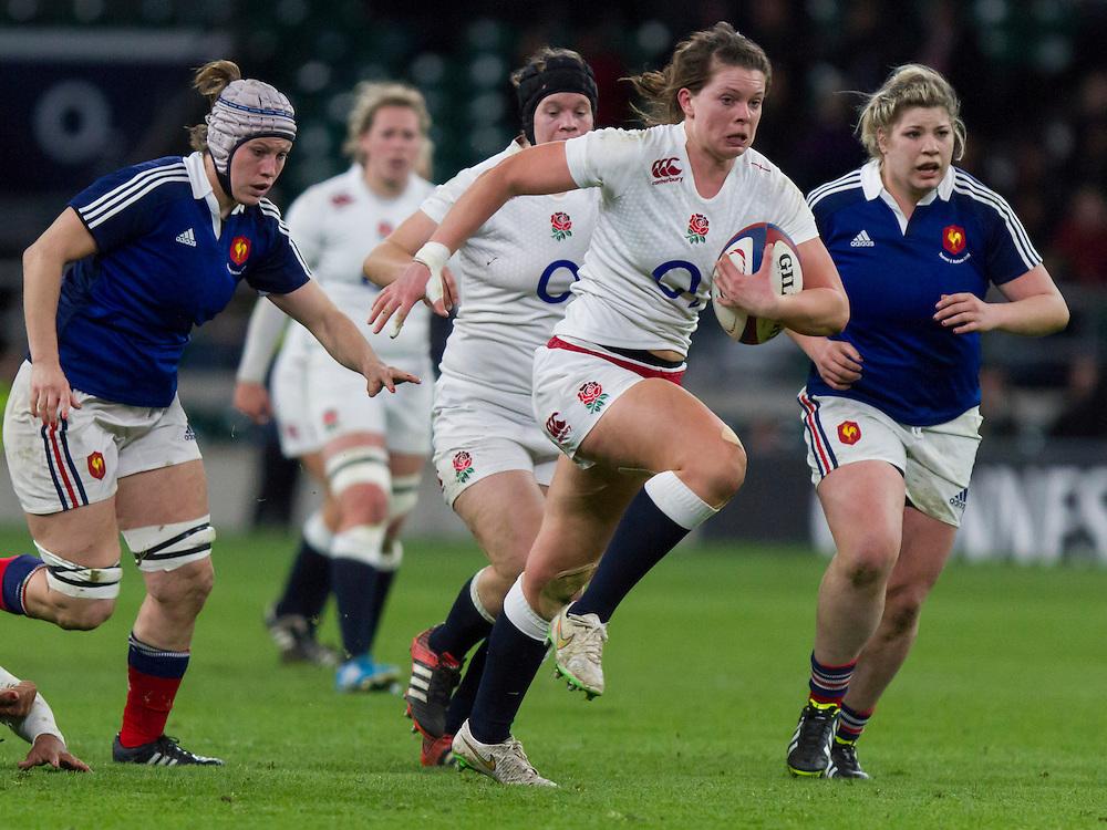 Abbie Scott in action, England Women v France Women in the 6 Nations at Twickenham Stadium, Twickenham, England, on 21st March 2015