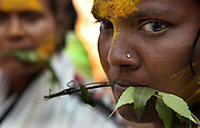 """Yellamma worshippers hold neem leaves in their mouths as a gesture of devotion to the goddess, Yellamma, during the Yellamma Jatre (fesival) in Saundatti, India.  This gesture harks back to the tradition of young girls being paraded naked except for neem leaves which were tied around their waists during their """"marriage ceremony"""" to the deity, Yellamma.  The practice is now outlawed but young girls from impoverished families continue to be """"married"""" to the goddess Yellamma under the darkness of night or on the girls' home.  Once they are married to Yellamma, they are regarded as servants to the goddess and must perfrom temple duties as well as satisfy the sexual needs of the priests and other men.  They may no longer marry a mortal and often end up being sold by unscrupulous priests to pimps who take them to work in the red-light districts of India's urban areas."""