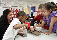 George L. Cooke Elementary School kindergarten students Julian Young, left, Delilah Vasquez, right, and Sean Clearwater put soil in containers before adding vegetable seeds that will end up in the Little Sprouts Garden at the school on Monday, May 13, 2013. The garden is a STEM (Science, Technology, Engineering and Math) project that the entire school is doing. Kindergarten teacher Nicki Wells is in the background at left.