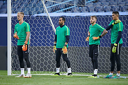 July 19, 2018 - Chicago, IL, U.S. - CHICAGO, IL - JULY 19: Manchester City goalkeeper's Joe Hart (13), Claudio Bravo (1), Daniel Grimshaw (32) and Arijanet Muric warm up during Manchester Cityv•s practice session ahead of the International Champions Cup match between Manchester City and Borussia Dortmund on July 19, 2018 held at Soldier Field in Chicago, Illinois. (Photo by Robin Alam/Icon Sportswire) (Credit Image: © Robin Alam/Icon SMI via ZUMA Press)