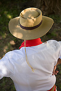 Detail of Gaucho's hat in dappled sunlight, Estancia Huechahue, Patagonia, Argentina, South America