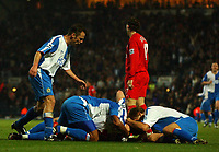 Photo: Back Page Images. 30/10/2004.<br /> Barclays Premiership. Blackburn Rovers v Liverpool. Ewood Park.<br /> Brett Emerton is mobbed by team mates after scoring