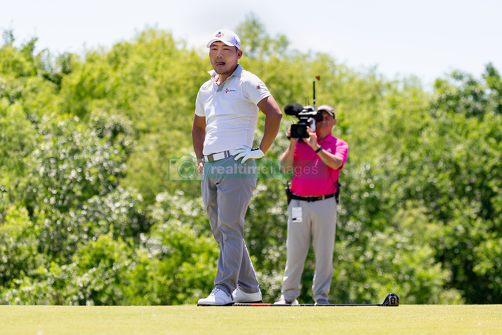 May 12, 2019 - Dallas, TX, U.S. - DALLAS, TX - MAY 12: Sung Kang reacts by dropping his club after driving into the #4 fairway bunker during the final round of the AT&T Byron Nelson on May 12, 2019 at Trinity Forest Golf Club in Dallas, TX. (Photo by Andrew Dieb/Icon Sportswire) (Credit Image: © Andrew Dieb/Icon SMI via ZUMA Press)