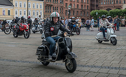 July 8, 2017 - MalmÃ, Sweden - A friendly yearly meeting and jointly event by Mods with scooters and Rockers with motorcycles. (Credit Image: © Tommy Lindholm/Pacific Press via ZUMA Wire)