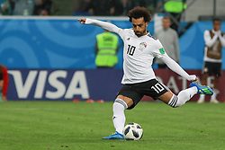 June 19, 2018 - SãO Petersburgo, Rússia - SÃO PETERSBURGO, MO - 19.06.2018: RUSSIA VS EGYPT - Mohamed Salah scores a penalty and makes the only goal of Egypt during the match between Russia and Egypt valid for the 2018 World Cup held at the Zenit Arena in St. Petersburg, Russia. (Credit Image: © Ricardo Moreira/Fotoarena via ZUMA Press)