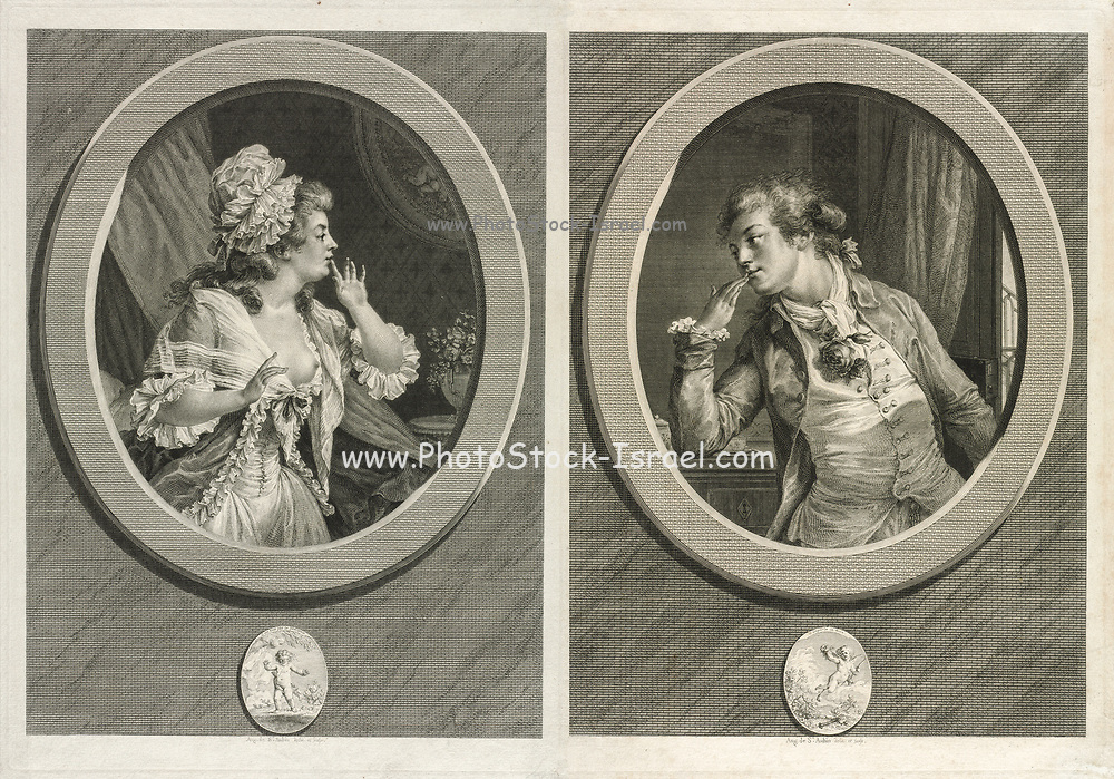 At Least Be Discreet / You May Count on Me a set of two engravings by Augustin de Saint-Aubin (French, 1736-1807) from 1789. Together these pendant prints depict a couple saying farewell after a romantic rendezvous. Still partially undressed, the woman cautions her lover to keep their tryst a secret. Both the man and the cherub beneath him proudly display a plucked rose as a symbol of sexual triumph. Meanwhile, below the woman, a blindfolded cupid steps toward a precipice, a sign that this lady is about to fall dangerously in love with a rogue. Amusingly, the prints actually depict the artist and his wife, whimsically portraying the mores and fashion of aristocratic society during the 18th century.