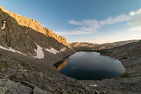 From my campsite next to Upper Crater Lake in the Cloud Peak Wilderness I had an amazing view in both directions. This is looking down at Lower Crater Lake shorty after sunrise.
