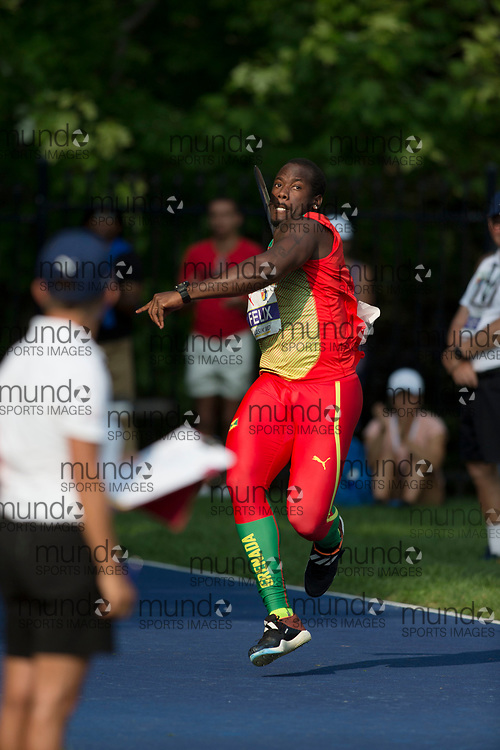 Toronto, ON -- 11 August 2018: Markim Felix (Grenada), javelin at the 2018 North America, Central America, and Caribbean Athletics Association (NACAC) Track and Field Championships held at Varsity Stadium, Toronto, Canada. (Photo by Sean Burges / Mundo Sport Images).