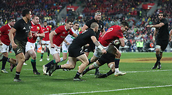 British and Irish Lions Conor Murray breaks to score their second try during the second test of the 2017 British and Irish Lions tour at Westpac Stadium, Wellington.