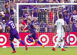 April 8, 2018 - Orlando, FL, U.S. - ORLANDO, FL - APRIL 08: Orlando City forward Dom Dwyer (14) celebrates scoring the games winning goal during the MLS soccer match between the Orlando City FC and the Portland Timbers at Orlando City SC on April 8, 2018 at Orlando City Stadium in Orlando, FL. (Photo by Andrew Bershaw/Icon Sportswire) (Credit Image: © Andrew Bershaw/Icon SMI via ZUMA Press)