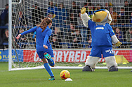 AFC Wimbledon mascot taking penalty against Haydon the Womble during the EFL Sky Bet League 1 match between AFC Wimbledon and Doncaster Rovers at the Cherry Red Records Stadium, Kingston, England on 9 March 2019.