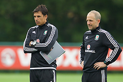 CARDIFF, WALES - Saturday, June 4, 2016: Wales' manager Chris Coleman and coach Paul Trollope during a training session at the Vale Resort Hotel ahead of the International Friendly match against Sweden. (Pic by David Rawcliffe/Propaganda)
