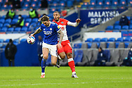 Cardiff City's Aden Flint (5) under pressure from Millwall's Kenneth Zohore (13) during the EFL Sky Bet Championship match between Cardiff City and Millwall at the Cardiff City Stadium, Cardiff, Wales on 30 January 2021.
