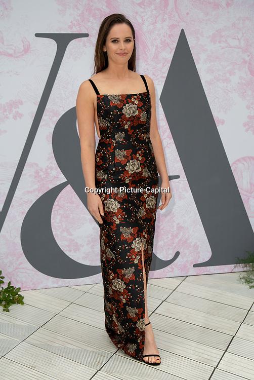 Felicity Jones arrives at V&A - summer party, on 19 June 2019, London, UK