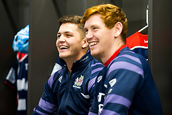 Callum Sheedy of Bristol Rugby and Jack Tovey look on in the Bristol Rugby dressing room - Rogan/JMP - 22/12/2017 - RUGBY UNION - Ashton Gate Stadium - Bristol, England - Bristol Rugby v Cornish Pirates - Greene King IPA Championship.