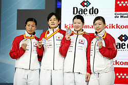 November 10, 2018 - Madrid, Madrid, Spain - Japan Team win the silver medal and the second place of Female Kumite for Team tournament during the Finals of Karate World Championship celebrates in Wizink Center, Madrid, Spain, on November 10th, 2018. (Credit Image: © AFP7 via ZUMA Wire)