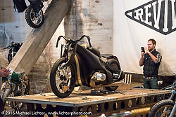 Revival Cycles BMW Landspeeder on display at the Handbuilt Motorcycle Show. Austin, TX, USA. April 10, 2016.  Photography ©2016 Michael Lichter.