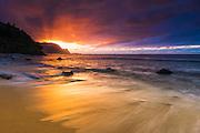 Sunset over the Na Pali Coast from Hideaways Beach, Princeville, Kauai, Hawaii