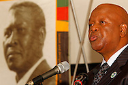 DURBAN - Jeff Radebe, South Africa's Minister in the Presidency, speaking on whether the country's constitution is an obstacle or catalyst for nation building at the annual CHief Albert Luthuli Memorial Lecture at the University of KwaZulu-Natal in Durban. IN the background is a portrait oof Chief Albert Luthuli, South Africa's first Nobel laureate. Picture: Allied Picture Press/APP