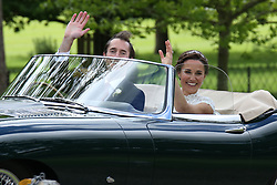 Pippa and James leave Englefield house in an e type jag<br /><br />20 May 2017.<br /><br />Please byline: Vantagenews.com
