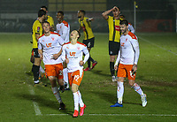 Blackpool's Dan Kemp celebrates scoring his side's fourth goal<br /> <br /> Photographer Alex Dodd/CameraSport<br /> <br /> FA Cup Second Round - Harrogate Town v Blackpool - Saturday 28th November 2020 - Wetherby Road - Harrogate <br />  <br /> World Copyright © 2020 CameraSport. All rights reserved. 43 Linden Ave. Countesthorpe. Leicester. England. LE8 5PG - Tel: +44 (0) 116 277 4147 - admin@camerasport.com - www.camerasport.com