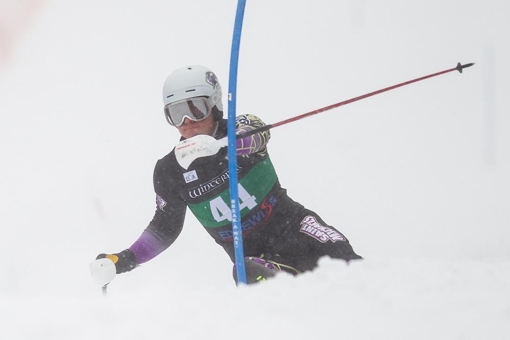 Carl Oscar Green Bredengen of Saint Michael's College, skis during the first run of the men's slalom at Jiminy Peak on February 14, 2014 in Hancock, MA. (Dustin Satloff/EISA)