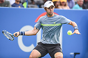 JORDAN THOMPSON hits a forehand during his second round match at the Citi Open at the Rock Creek Park Tennis Center in Washington, D.C.