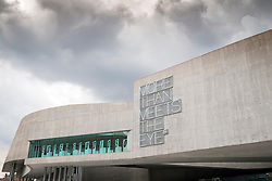 Exterior of MAXXI National Centre of Contemporary Arts designed by Zaha Hadid in Rome, Italy