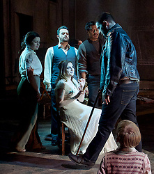 Whisper House <br /> by Duncan Sheik<br /> at The Other Place, Westminster, London, Great Britain <br /> Press photocall <br /> 13th April 2017 <br /> <br /> Simon Bailey as Male Ghost <br /> <br /> Nicholas Goh as Yashujiro.<br /> <br /> Simon Lipkin as Sheriff<br /> <br /> Niamh Perry as Female Ghost <br /> <br /> Dianne Pilkington as Lily<br /> <br /> Stanley Jarvis as  Christopher<br /> <br /> Photograph by Elliott Franks <br /> Image licensed to Elliott Franks Photography Services