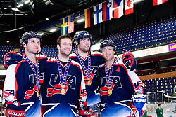 USA players posing with medals at IIHF In-Line Hockey World Championships Top Division Gold medal game between National teams of Czech Republic on July 4, 2010, in Karlstad, Sweden. (Photo by Matic Klansek Velej / Sportida)