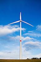 Wind turbines in Bavarian farm field, Franconia, Germany