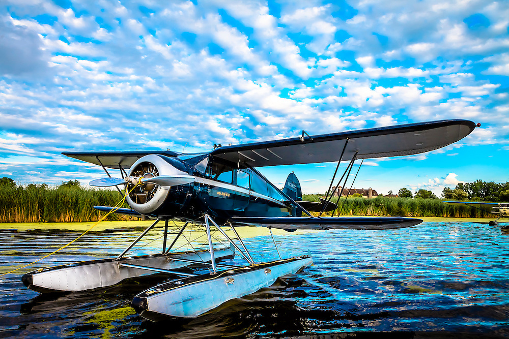 1937 WACO ZKS-6 on floats, owned by Carl Buck of Longmont, Colorado.  <br /> <br /> Created by aviation photographer John Slemp of Aerographs Aviation Photography. Clients include Goodyear Aviation Tires, Phillips 66 Aviation Fuels, Smithsonian Air & Space magazine, and The Lindbergh Foundation.  Specialising in high end commercial aviation photography and the supply of aviation stock photography for advertising, corporate, and editorial use.