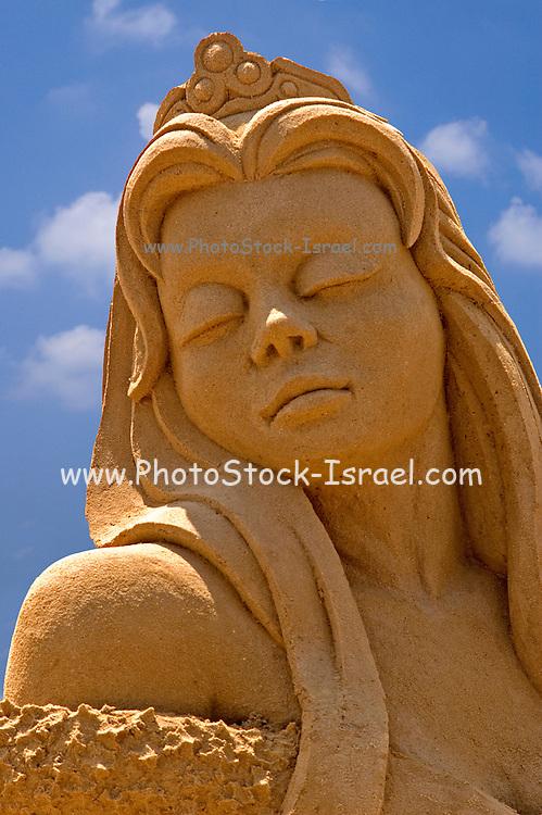 A lady Sand sculpture festival on the Haifa beach, July 2006