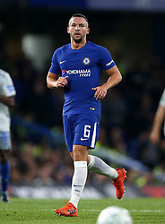 """Chelsea's Danny Drinkwater during the Carabao Cup, Fourth Round match at Stamford Bridge, London. PRESS ASSOCIATION Photo. Picture date: Wednesday October 25, 2017. See PA story SOCCER Chelsea. Photo credit should read: Nigel French/PA Wire. RESTRICTIONS: EDITORIAL USE ONLY No use with unauthorised audio, video, data, fixture lists, club/league logos or """"live"""" services. Online in-match use limited to 75 images, no video emulation. No use in betting, games or single club/league/player publications."""