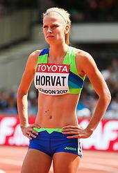 London, 2017 August 06. Anita Horvat, Slovenia awaits the start of heat three of the Women's 400m on day three of the IAAF London 2017 world Championships at the London Stadium. © Paul Davey.