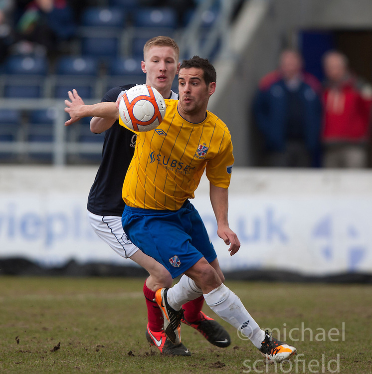 Cowdenbeath's Sean McAllister and Falkirk's Liam Dick..half time : Falkirk 0 v 0 Cowdenbeath, 6/4/2013..©Michael Schofield..