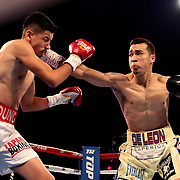 NEW ORLEANS, LA - JULY 14:  Adrian Young fights Erick DeLeon (R) during the Regis Prograis v Juan Jose Velasco ESPN boxing match at the UNO Lakefront Arena on July 14, 2018 in New Orleans, Louisiana.  (Photo by Alex Menendez/Getty Images) *** Local Caption *** Adrian Young; Erick DeLeon
