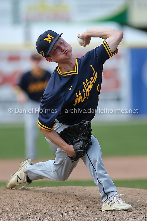 (7/1/18, WORCESTER, MA) Milford Post 59's Alex Gonfrade delivers a pitch during the Legion baseball against Main South Post 341 at Fitton Field in Worcester on Sunday. [Daily News and Wicked Local Photo/Dan Holmes]