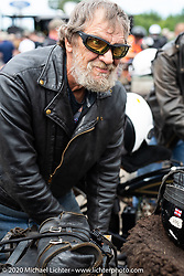 Rich Rau at a stop at Harley-Davidson of Rochester, New Hampshire for a hosted lunch during the Motorcycle Cannonball coast to coast vintage run. Stage-1 (145-miles) from Portland, Maine to Keene, NH. Saturday September 8, 2018. Photography ©2018 Michael Lichter.