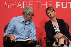 © Licensed to London News Pictures . 25/07/2015 . Warrington , UK . JEREMY CORBYN and YVETTE COOPER at the Labour Party leadership hustings at Parr Hall in Warrington . Photo credit : Joel Goodman/LNP