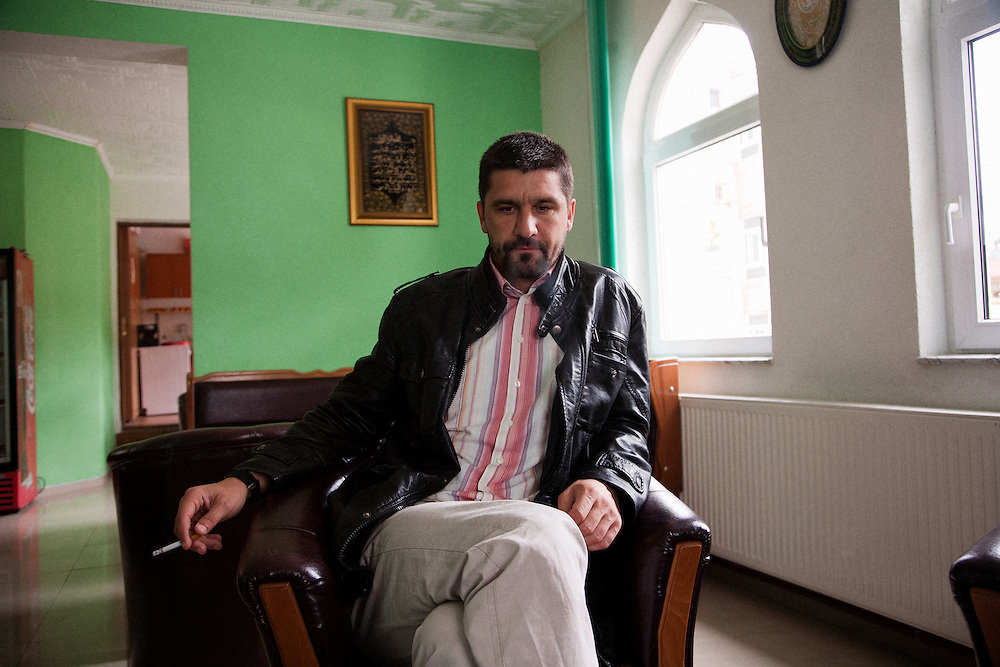 Damir Pestalic, the head Imam of the Srebrenica municipality, in a tea house adjoining the recently rebuilt central mosque of Srebrenica...Matt Lutton for The International Herald Tribune..Capture of Ratko Mladic. Srebrenica, Bosnia and Herzegovina. May 29, 2011.