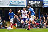 Portsmouth Defender, Christian Burgess (6) tackles Rotherham United Forward, Kieffer Moore (24) during the EFL Sky Bet League 1 match between Portsmouth and Rotherham United at Fratton Park, Portsmouth, England on 3 September 2017. Photo by Adam Rivers.