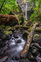 While Elowah Falls in Oregon's Columbia River Gorge doesn't flow too hard during the Summer months, it still provides dramatic views to those willing to hike to see it.